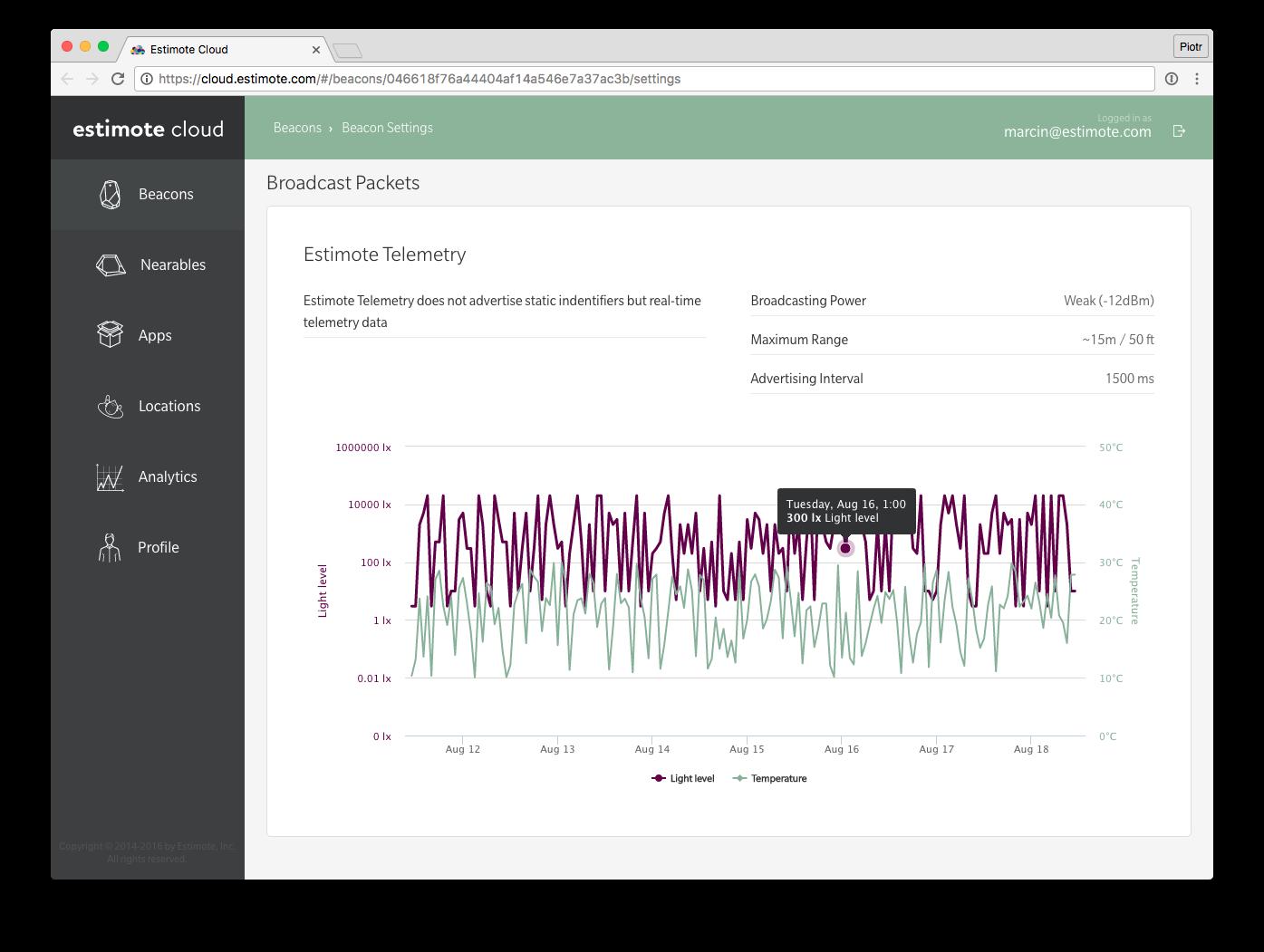 Sensors API dashboard